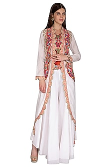 Off White Embroidered Jacket With Sharara Pants by Sonali Gupta