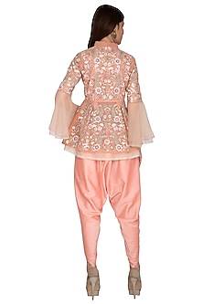 Pink Embroidered Top With Dhoti Pants by Sonali Gupta