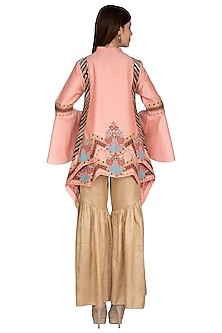 Peach Embroidered Jacket With Sharara Pants by Sonali Gupta