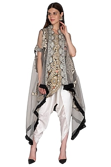 Black Embroidered Jacket With Cape & Dhoti Pants by Sonali Gupta