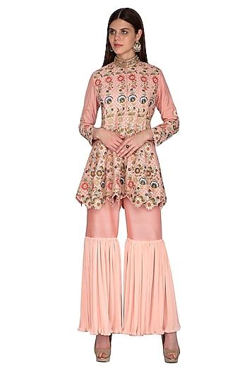 Peach Embroidered Top With Sharara Pants by Sonali Gupta