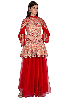 Red Embroidered Top With Sharara Pants by Sonali Gupta