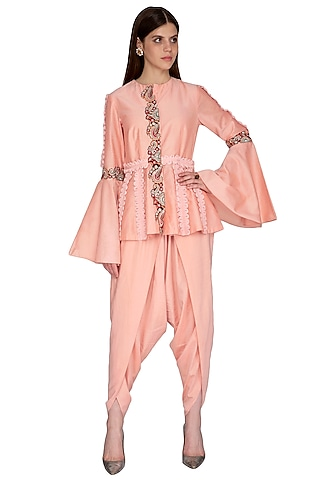 Peach Embroidered Top With Dhoti Pants by Sonali Gupta
