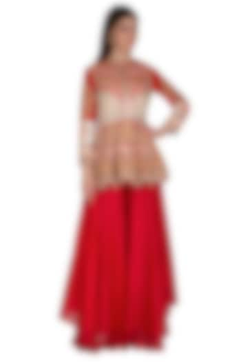 Red Embroidered Peplum Top With Sharara Pants by Sonali Gupta