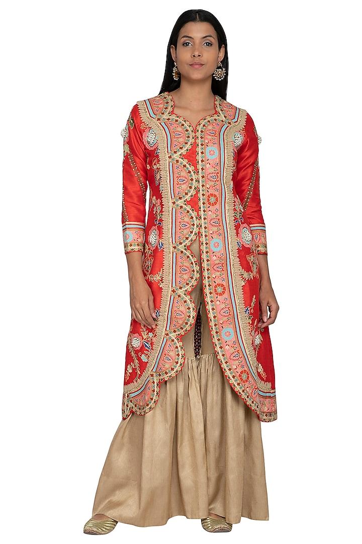 Red Embroidered Jacket With Sharara Pants by Sonali Gupta