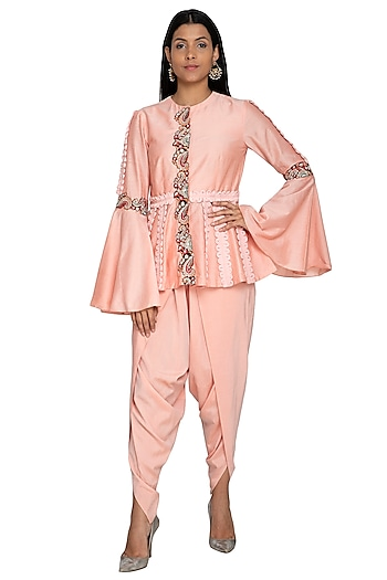 Peach Embroidered Peplum Top With Dhoti Pants by Sonali Gupta