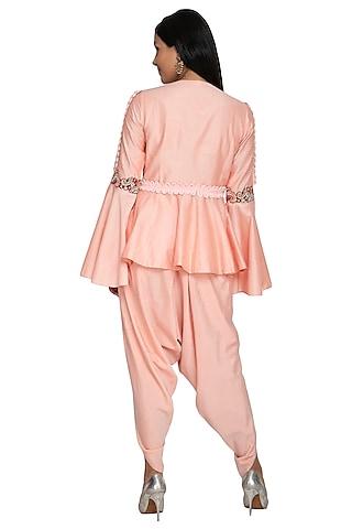 Peach Embroidered Peplum Top With Dhoti Pants by Sonali Gupta