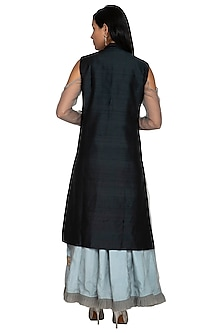 Black Embroidered Jacket With Anarkali by Sonali Gupta