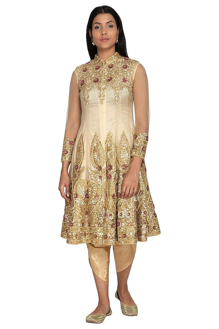 Cream Embroidered Anarkali With Dhoti Pants by Sonali Gupta