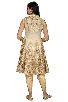 Cream Embroidered Anarkali With Dhoti Pants by Sonali Gupta