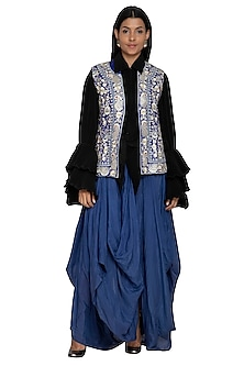 Midnight Blue & Black Embroidered Shirt With Dhoti Pants by Sonali Gupta