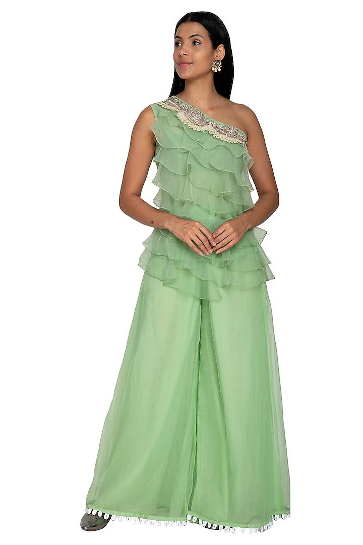 Emerald Green Embroidered Top With Sharara Pants by Sonali Gupta
