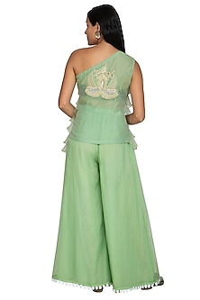 Emerald Green Embroidered Top With Sharara Pants by Sonali Gupta