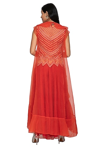 Red Embroidered Cape Jacket With Sharara Pants by Sonali Gupta