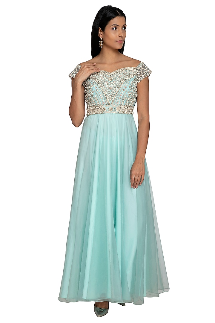 Turquoise Hand Embroidered Maxi Dress by Sonali Gupta