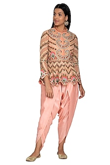 Peach Hand Embroidered Peplum Top With Dhoti Pants by Sonali Gupta