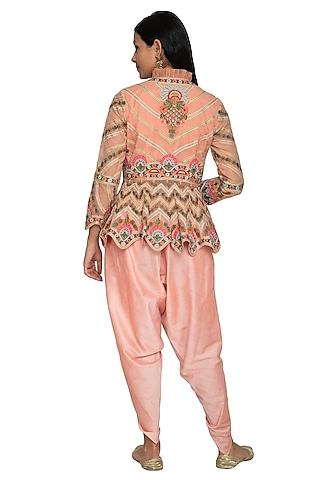 Peach Hand Embroidered Peplum Top With Dhoti Pants by Sonali Gupta