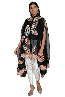 Black Embroidered Cape Jacket With Dhoti Pants by Sonali Gupta