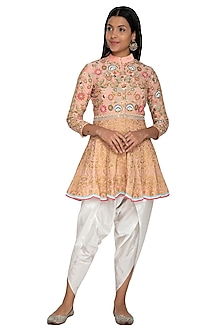 Peach Thread Embroidered Peplum Top With Dhoti Pants by Sonali Gupta