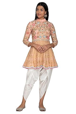 Peach Thread Embroidered Peplum Top With Dhoti Pants by Sonali Gupta