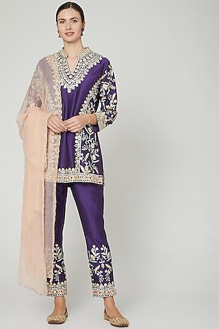 Purple & Blush Pink Embroidered Kurta Set by Sonali Gupta