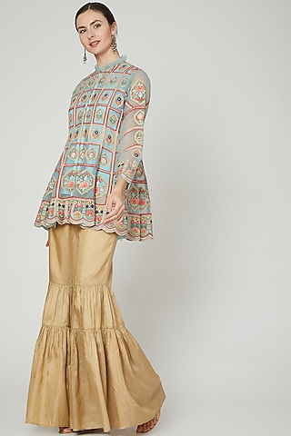 Powder Blue & Gold Embroidered Sharara Set by Sonali Gupta
