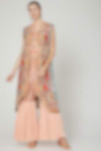 Blush Pink Embroidered Sharara Set by Sonali Gupta
