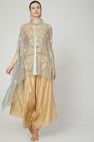 Gold & Powder Blue Embroidered Pant Set by Sonali Gupta