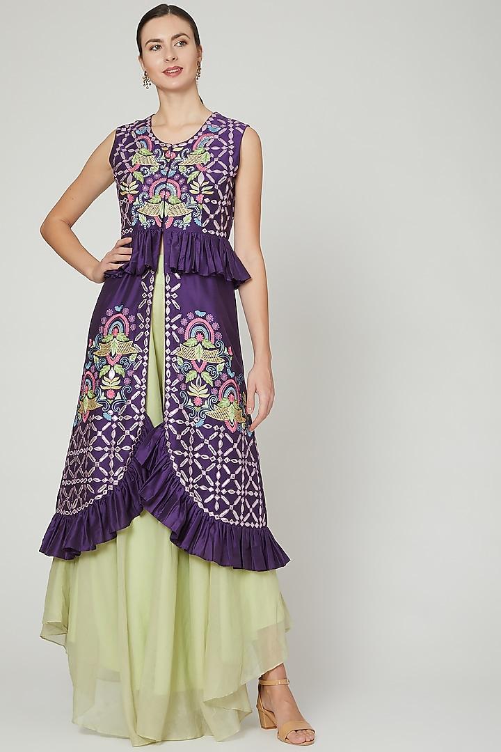 Purple & Mint Embroidered Sharara Set by Sonali Gupta