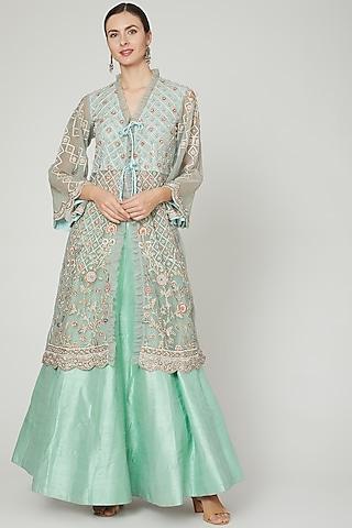 Powder Blue Embroidered Skirt Set by Sonali Gupta