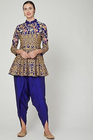 Midnight Blue Embroidered Pants Set by Sonali Gupta
