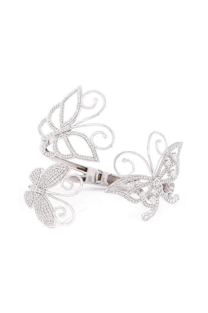 White Finish Swarovski Butterflies Bracelet by Solasta Jewellery