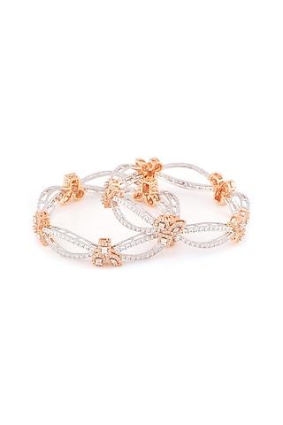 Rose Gold Finish Swarovski Infinity Bangles by Solasta Jewellery