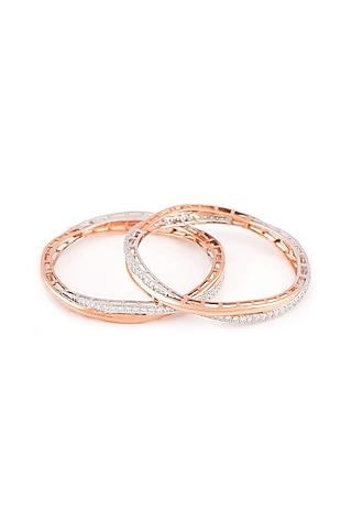 Rose Gold Finish Swarovski Intertwined Bangles by Solasta Jewellery