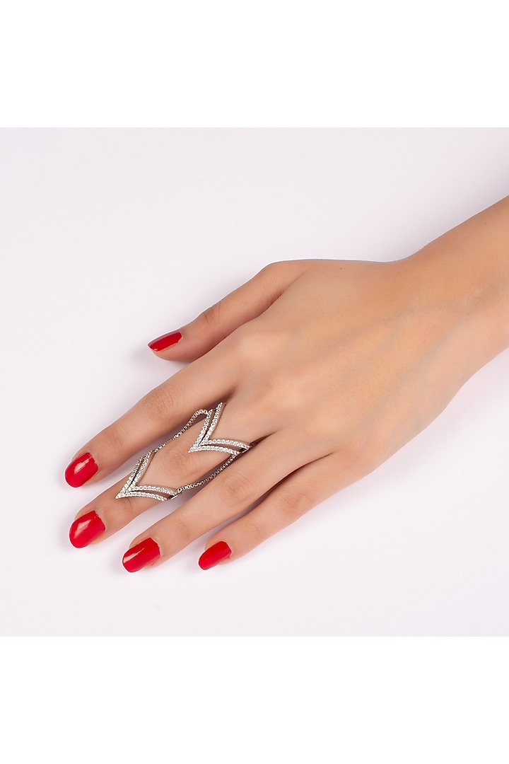 White Finish Swarovski Full Finger Rings by Solasta Jewellery