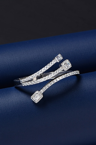 White Finish Swarovski Triple Bracelet by Solasta Jewellery