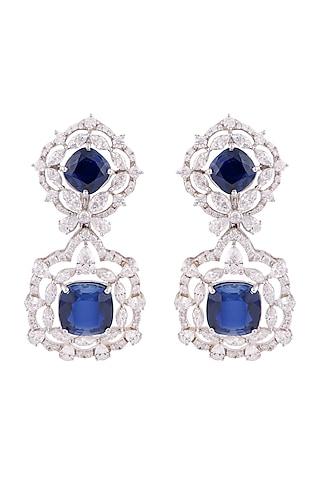 White Finish Emerald Cocktail Dangler Earrings by Solasta Jewellery