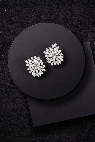 White Finish Swarovski Zirconia Stud Earrings by Solasta Jewellery