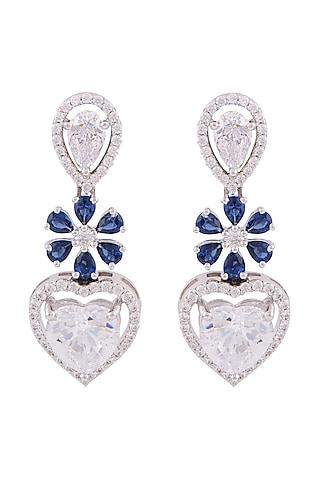 White Finish Swarovski Zirconia Dangler Earrings by Solasta Jewellery