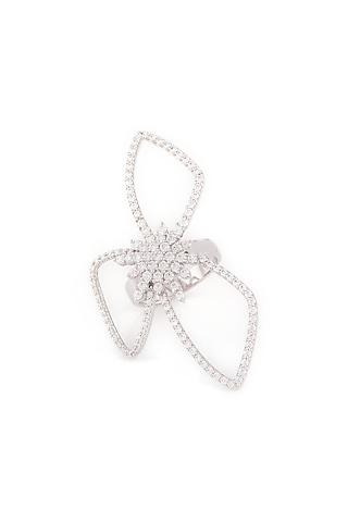 White Finish Swarovski Statement Ring by Solasta Jewellery