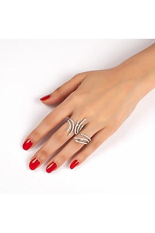 White Finish Two Finger Sway Ring by Solasta Jewellery