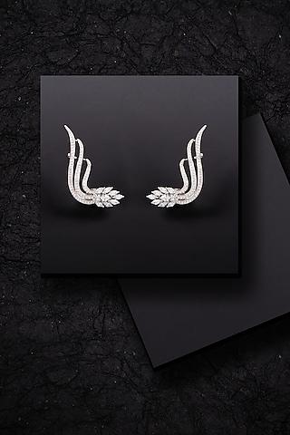 White Finish Swarovski Zirconia Ear Cuffs by Solasta Jewellery