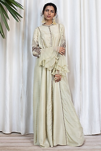 Artichoke Bell Sleeved Tunic With Pants by Soltee By Sulakshana Monga