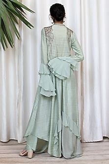 Mint Green Bell Sleeved Tunic With Pants by Soltee By Sulakshana Monga