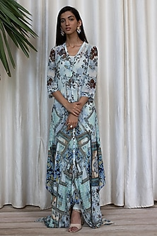 Sky Blue Printed Dress With Pants by Soltee By Sulakshana Monga