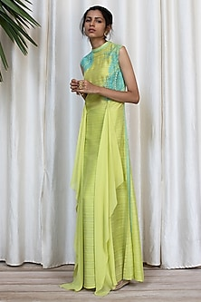 Neon Green Patterned Dress With Pants by Soltee By Sulakshana Monga