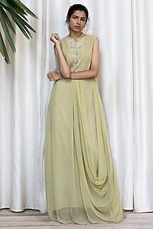 Khaki Green Cowl Draped Dress With Pants by Soltee By Sulakshana Monga