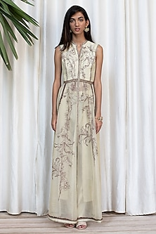 Ivory Embroidered Dress With Pants by Soltee By Sulakshana Monga