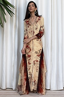 Beige Printed Tunic With Pants by Soltee By Sulakshana Monga