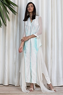 White Embroidered Dress With Pants by Soltee By Sulakshana Monga